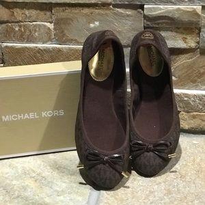 NIB Michael Kors brown logo, leather ballet flats